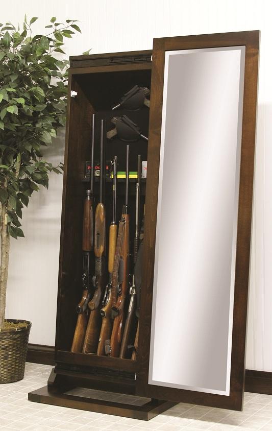 Jake's Amish Furniture - #1035-300 Shaker Rifle Cabinet Open