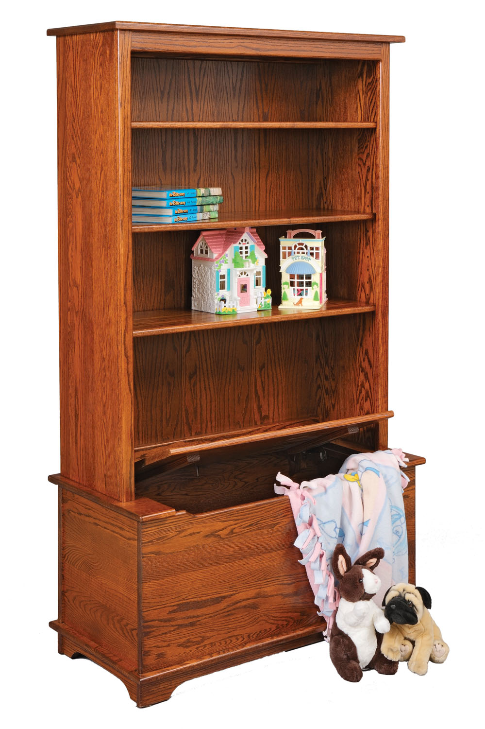 Jake's Amish Furniture - #30-26 Bookcase with Toy Box & Adjustable ...