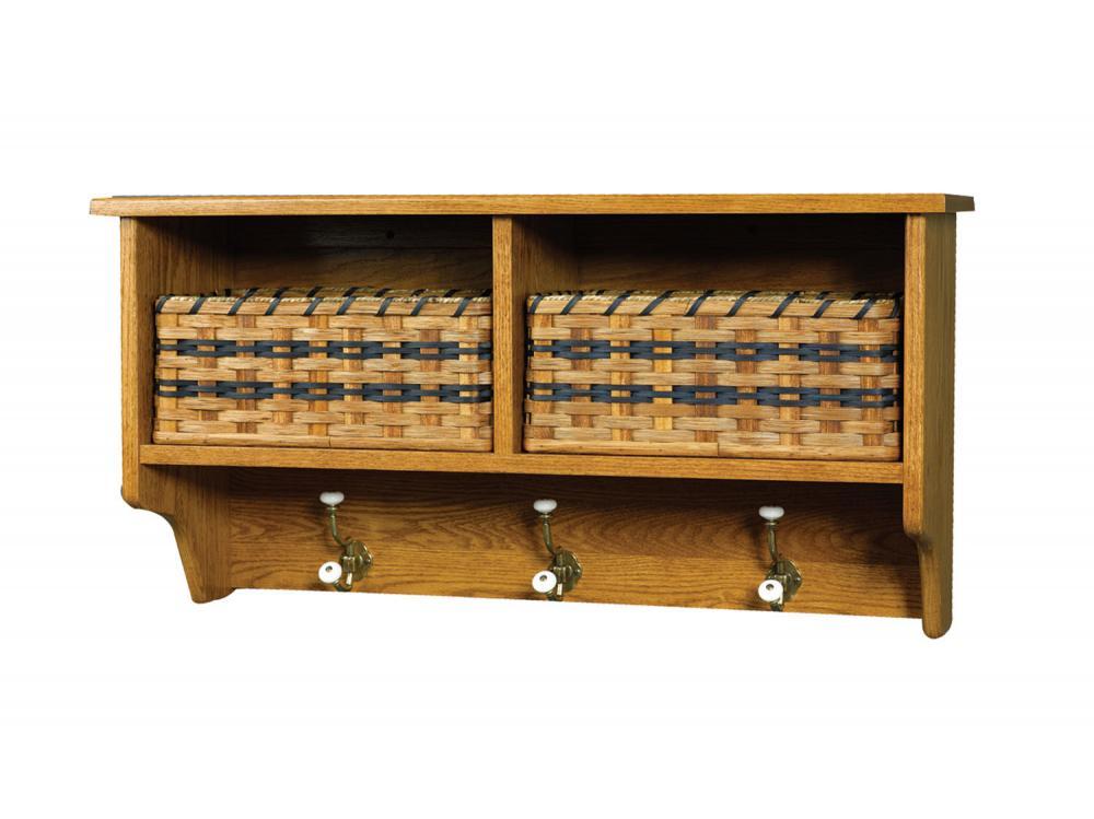 jake 39 s amish furniture 50 30 wall shelf with 2 baskets. Black Bedroom Furniture Sets. Home Design Ideas