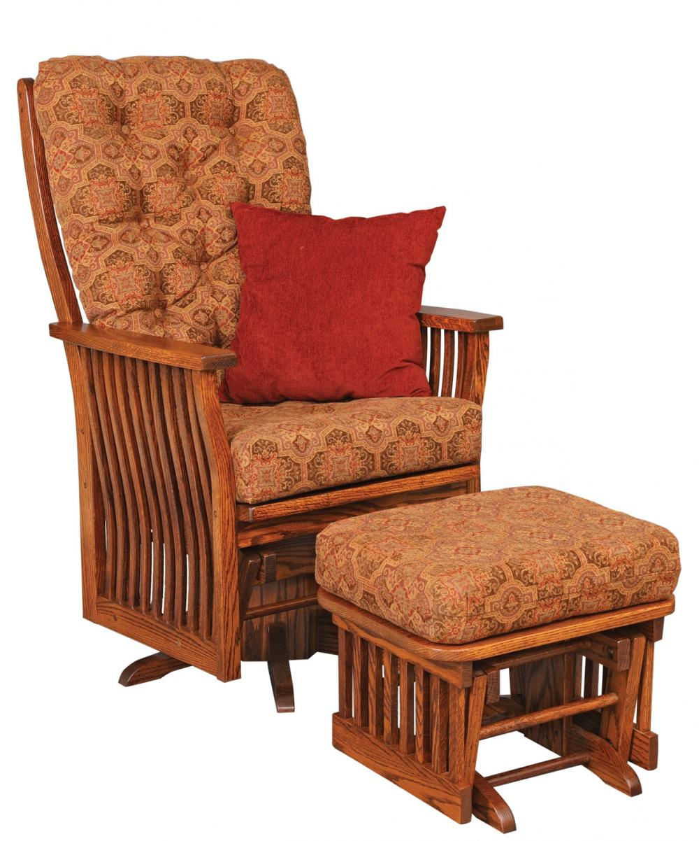 Jake S Amish Furniture 70 1 Swilvel Glider With Ottoman Cushions