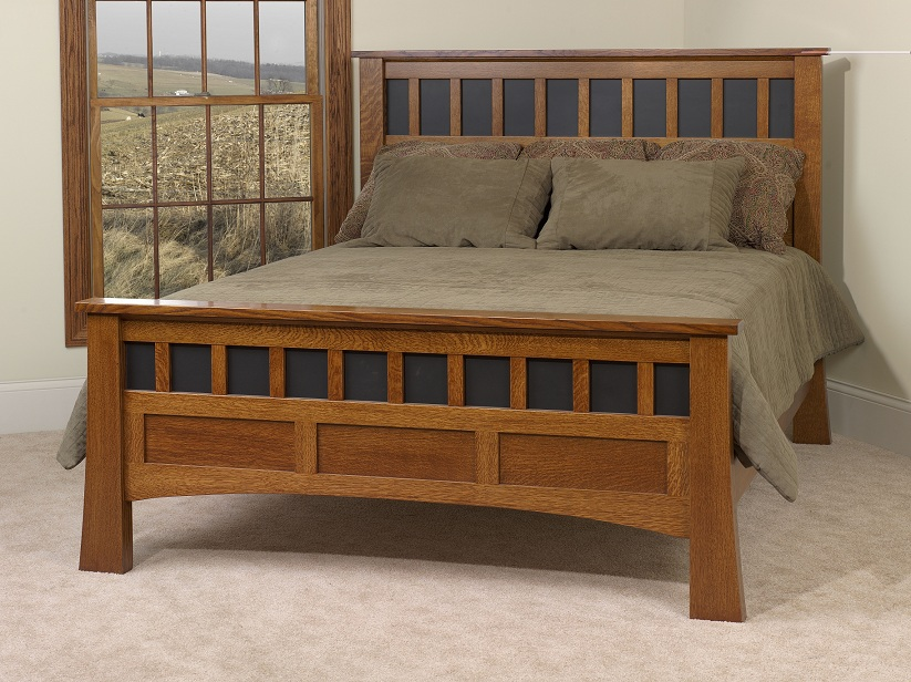 #MB2712Q Antique Mission Queen Bed - Jake's Amish Furniture - #MB2712Q Antique Mission Queen Bed