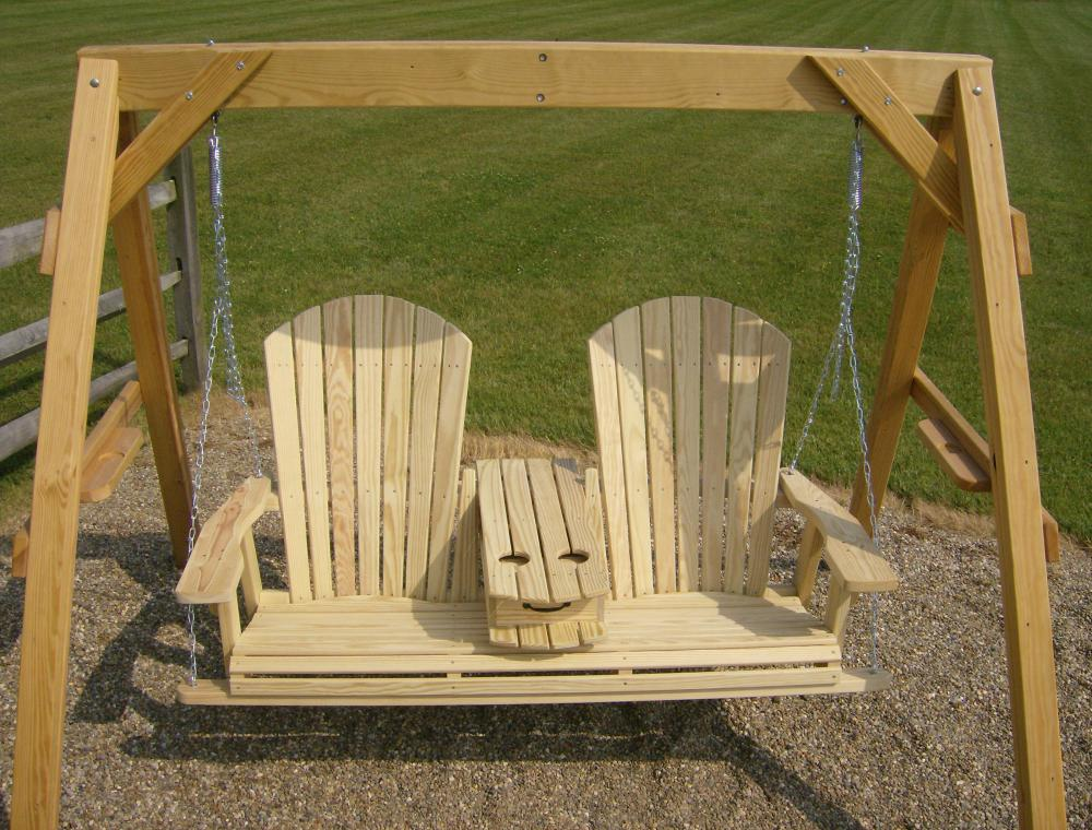 Jake's Amish Furniture - 5' Adirondack Swing With Fold ...