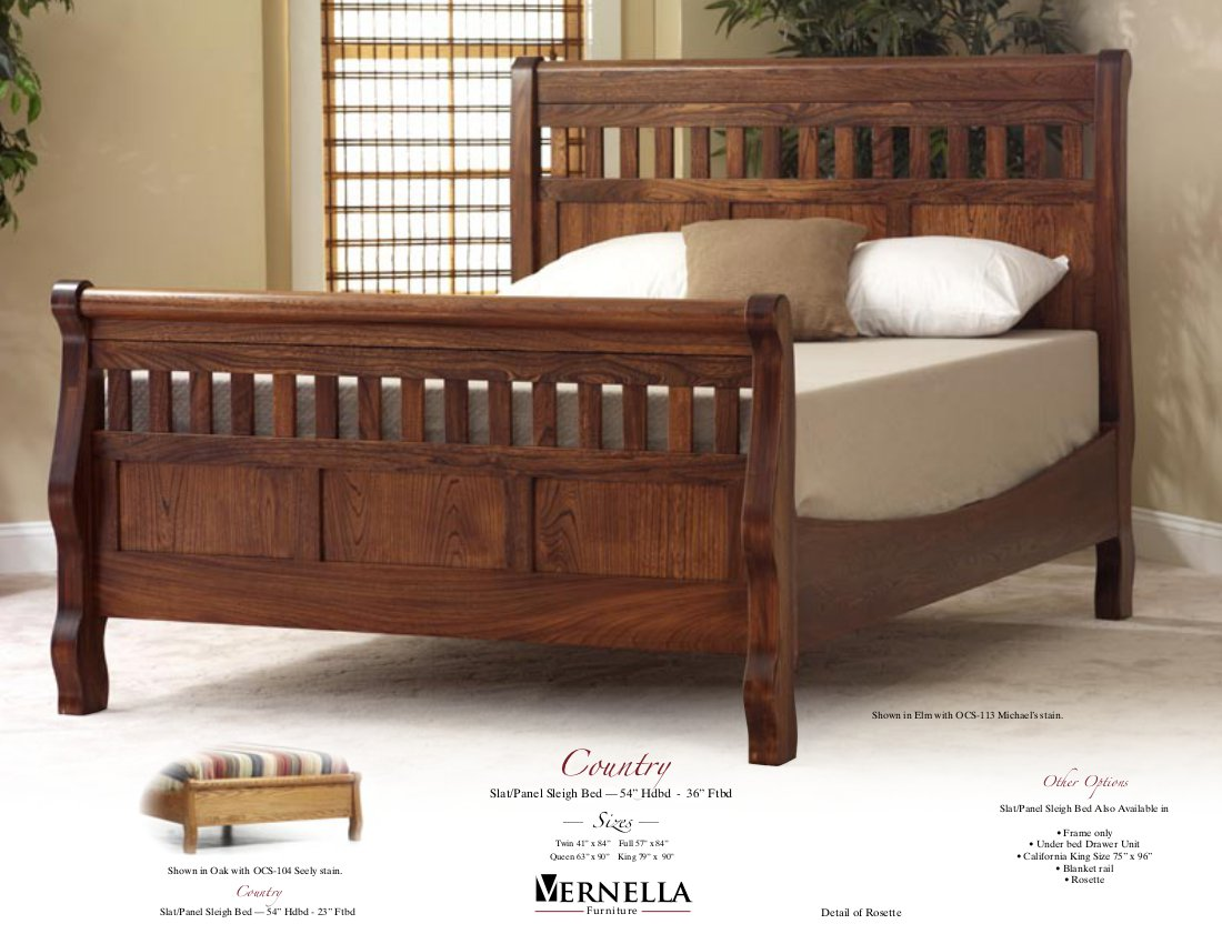 Jake 39 s amish furniture country bed in elm - Bed elm massief ...