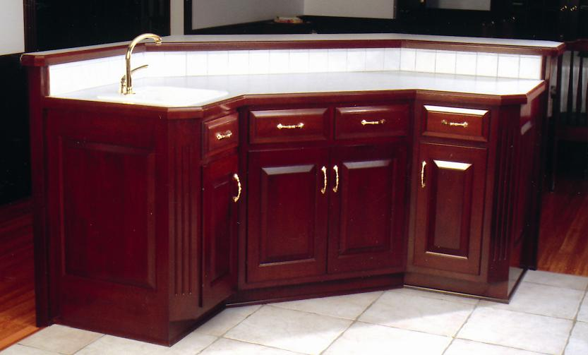 Jake S Amish Furniture Custom Kitchen Island In Forefront Of Traditional Cherry Amish Kitchen