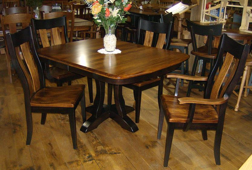 Jake S Amish Furniture Richfield Table Amp Chairs Of Elm Michael S Top Amp Brown Maple Onyx Base