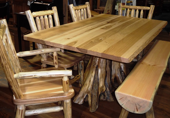 Jakeu0026#39;s Amish Furniture - Rustic Hickory Top Table with White Pine Stump Pedestal
